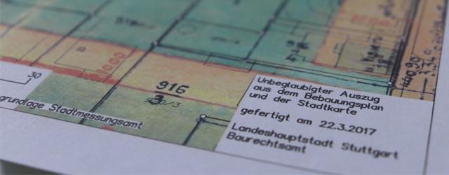 Bebauungsplan Stuttgart für Wertermittlung